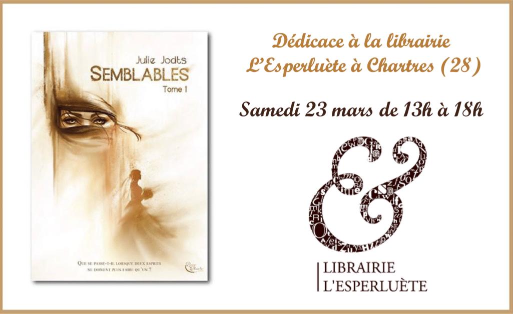 Séance de dédicace librairie L'Esperluète à Chartres (28)